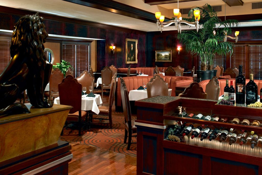 The main dining room at Lawry's The Prime Rib Dallas.