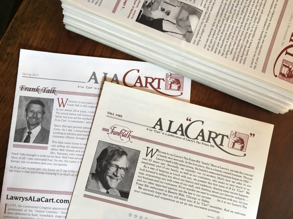 Lawry's A La Cart was first published in the fall of 1985