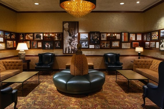 The new, multi-wall History of Lawry's display in the waiting room at Lawry's The Prime Rib, Beverly Hills